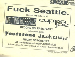 Melting Hopefuls and cuppa joe release party ad from the Aquarian Weekly.