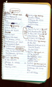 A page from my notebook, which contained notes on distributor orders.